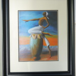 Silhouettes and the drum: The Oath, by Charlot Lucien, framed black ink, 11*17, starting price, 125