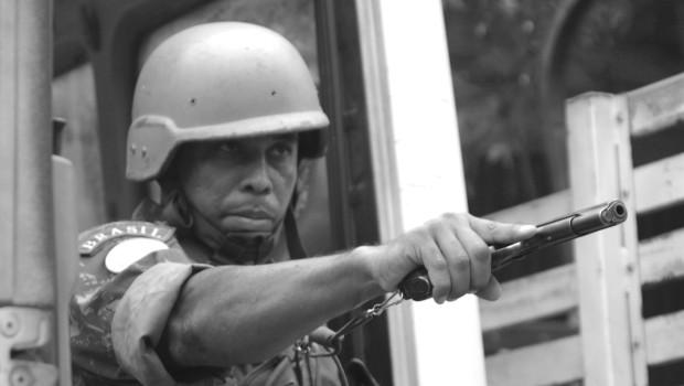 UN Officer with gun