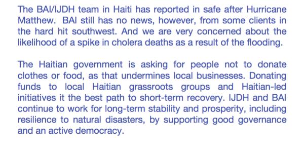 BAI & IJDH Statement on Hurricane Matthew